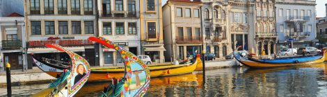 Aveiro - Typical Boat (Moliceiro) & City View