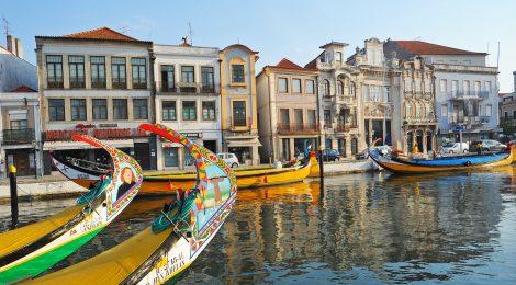 Aveiro - Typical Boat (Moliceiro) & City View